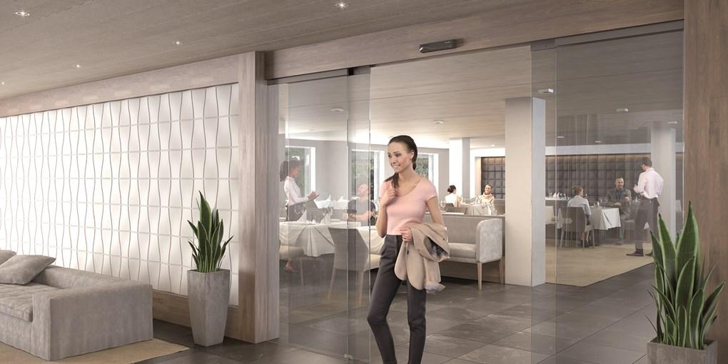 besam-sl500-ads-all-glass-transparent-restaurant-in-hotel-woman-walking-through